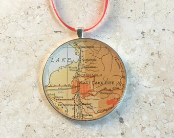 Salt Lake City Map Ornament  50mm  Christmas Holiday or Housewarming Gift for Travelers or  Tree Trimmer Utah