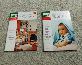 Vintage Singer Sewing Library How to Make Draperies 1960 and How to Sew for Babies 1962 Lot of 2