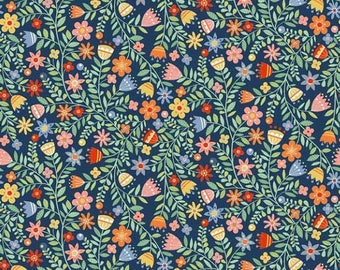 """SALE! Andover Fabrics """"Blue with Flowers"""" Fabric By The Yard; Crafty Cats By Makower UK; TP-1726-B"""