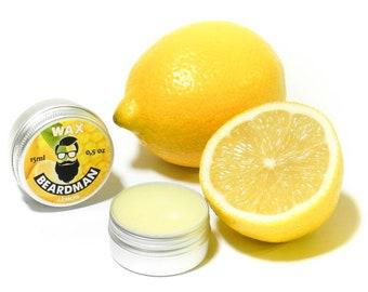 BEARDMAN Wax Lemon 15ml Beard & Moustache Growth Softening Fixation Handmade in Latvia