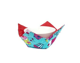 Bowl Cozy for Kids, Reversible Bowl Holder, Cupcakes and Polka Dots, Microwave Bowl Holder, Child's Bowl Potholder, Soup Bowl Hot Pad
