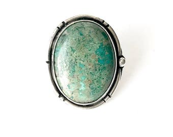 On Sale! Let Your Light Shine Bright Turquoise Ring - Sterling Silver - One of a kind, Adjustble Ring