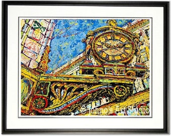 Pittsburgh Art, Kaufmanns Clock, Meet me under Kaufmanns Clock, Downtown Pittsburgh art,  Johno Prascak, Johnos Art Studio