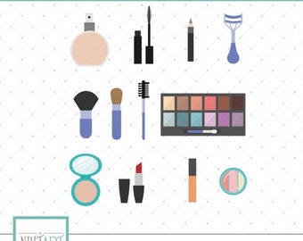 Makeup clip art, makeup kit clip art, beauty clip art, vector graphics, digital images CL 013