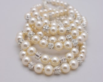 Set of 6 Ivory Pearl Bracelets, 6 Bridesmaid Bracelets, Cream Pearl and Rhinestone, Bridesmaid Gifts 0211