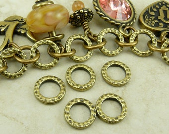 5 TierraCast Small Hammertone Bead Link Rings - Brass Ox plated Lead Free Pewter - I ship Internationally - 3085