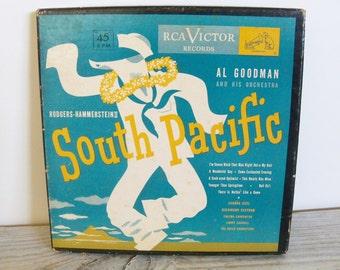 South Pacific Richard Rodgers Oscar Hammerstein RCA Victor Vintage Boxed 3 Record Set WK18 Blue Vinyl Record Al Goodman Sandra Deel 1950s