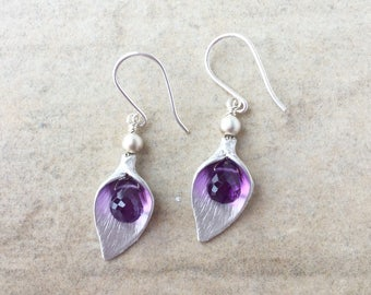 Sterling Silver Cala Lily Earrings