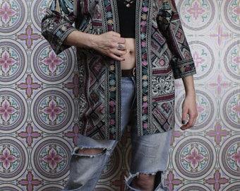 80's Boho Blazer Jacket by Lady Carol, Lightweight Rayon Cover Up, Size Medium