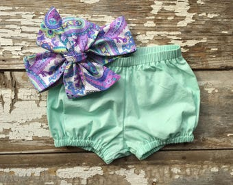 Mint Bloomer and Headwrap Set Green Bubble Shorts Elastic Shorts  Diaper Cover Toddler Girl Bloomers Baby Big Bow Headwrap Paisley Bow