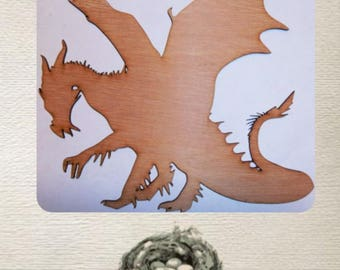 Medieval Dragon-  (Large ) Wood Cut Out -  Laser Cut