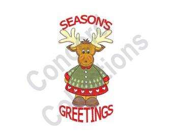 Seasons Greetings - Machine Embroidery Design, Christmas, Reindeer