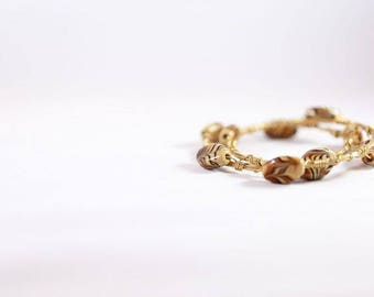 Gold and Groovy Glass Bead Wire Wrapped Bracelet Set