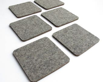 Square coasters - industrial felt - 4 inches - set of 6