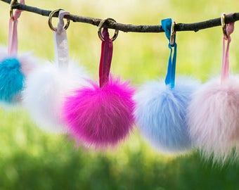 """Fur Pom Hair Hie, Keychain, 4"""" Pom Pom, Faux Fox Fur Pom, Hair Accessory"""