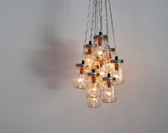 Mason Jar Chandelier Cluster, Hanging Chandelier Lighting Fixture With 10 Clear Pint Mason Jars, BootsNGus Modern Lighting & Home Decor