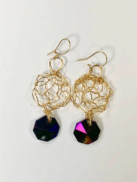 SJC10039 - Earrings - gold filled wire crochet with recycled purple chandelier crystal hexagonal prism