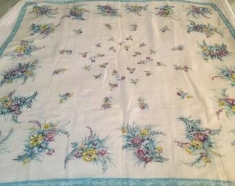 Vintage Delicate Silk Square Scarf Large Floral 1940's