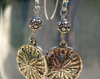Sterling Silver Sand Dollar Beaded Earring