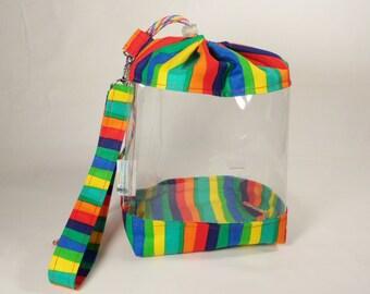 Clear Knitting Project Bag, Wide Rainbow Project Bag, Sock Knitters Projects Bag with clear view vinyl CVS0001