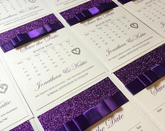 Purple Glitter save the date, calendar save the date, wedding invitation, personalised, save the date, wedding stationery,