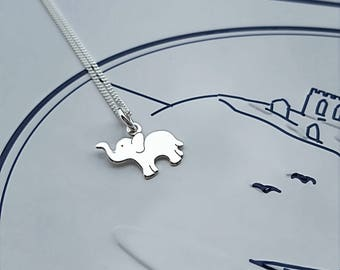 Elephant Necklace, Sterling Silver Elephant Necklace, Silver Elephant Necklace, Silver Elephant, Elephant Charm, Gift For Her