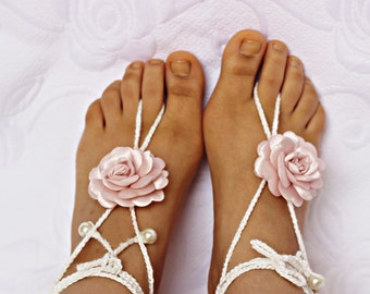 Blush  Barefoot Sandals, Wedding party shoes-Bridal Foot jewelry-Wedding Accessory-Bridal shoes-footless sandals