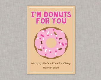 Valentine Classroom Cards, Donut Valentine Card, Classroom Valentines, Classroom Valentine's Day Card, Kids Valentine Cards, Kids Valentines