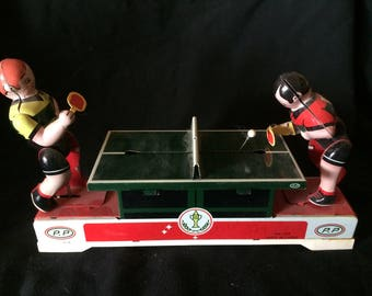 Vintage Tin Ping Pong Table With Players, Table Tennis Toy, Wind Up Toy - 1970