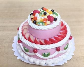 Miniature Fruit Cake 2 tiers,Miniature Sweet,Dollhouse food,Miniature bakery,Miniature Cakes,Dolls House Bakery,Miniature Bakery,Fruit Cakes