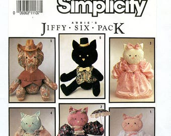 Vintage Simplicity 7205 Stuffed Kitty Cat Soft Toy With Clothing UNCUT Sewing Pattern Six Costume Variations