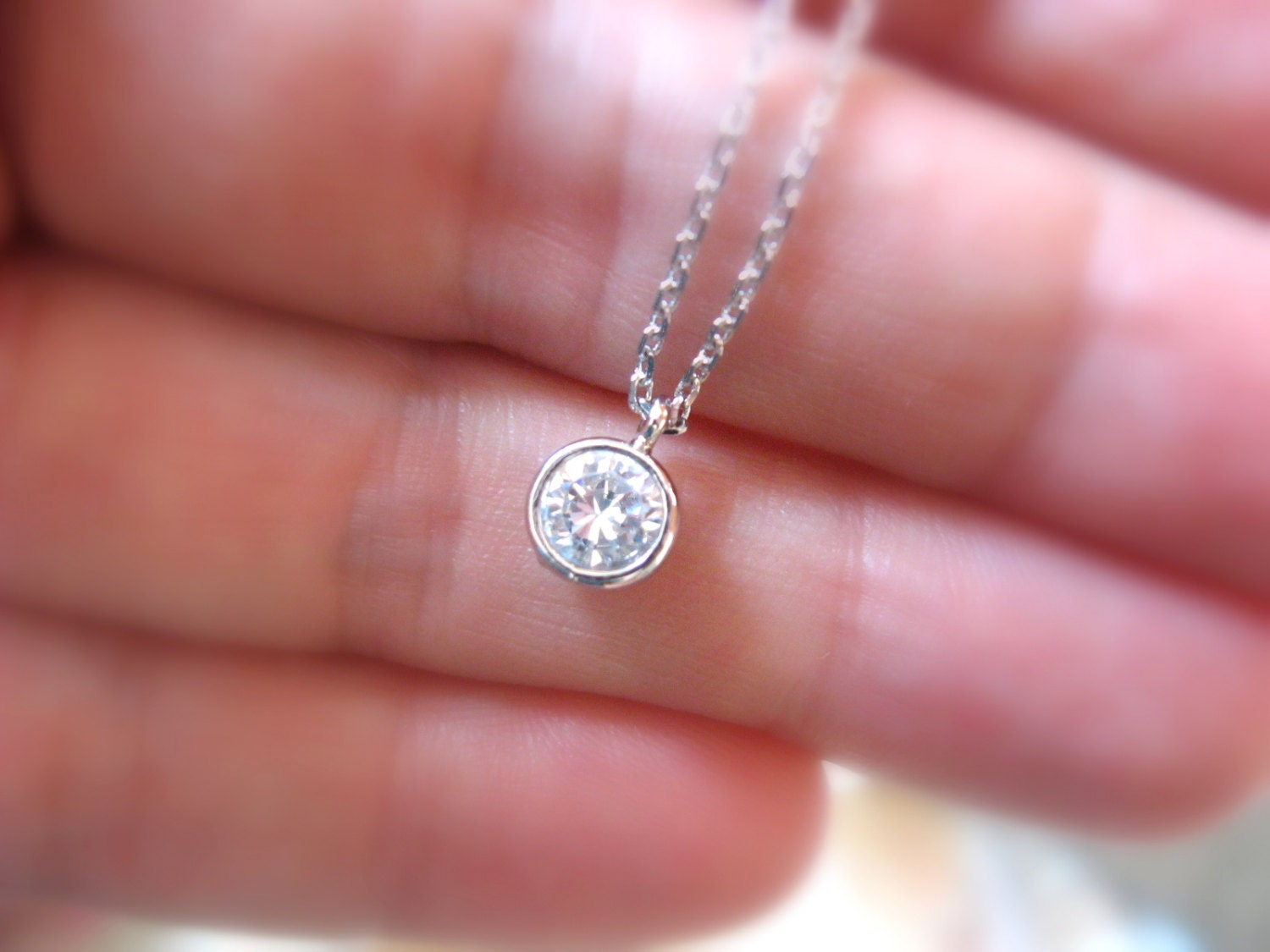Diamond Solitaire Necklace Tiny Diamond Necklace Dainty Silver