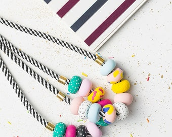 Modern Chunky necklace, Polymer Clay necklace, Beaded necklace, Colorful necklace, Statement jewelry, Statement necklace geometric gift