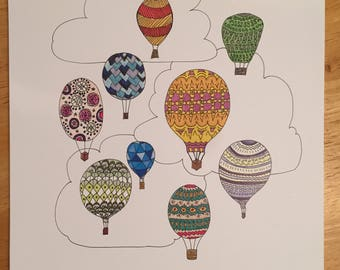 Hot Air Balloons 9x12 Illustration Print
