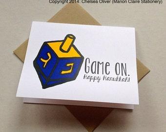 Funny Hanukkah Card - Happy Hanukkah - Game On - Dreidel