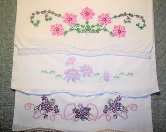 Three Mismatched Pillowcases - Hand Embroidered - Lavenders - Purples