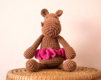 Hippo plush-baby girl gift toy-Soft baby toy-Hippo ballerina-Doudou crochet-pregnancy Gift Mom