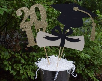 2018 Graduation Table Centerpiece, Graduation Party Decorations, Gold or Silver Graduation Party Centerpiece, Graduation Table Decorations
