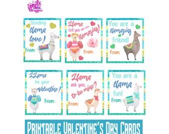 Classroom Valentines, Llama Valentine Day card for kids, Llama Valentines printable, Llama Valentine digital, Valentines llama, Llama card