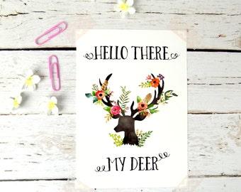 Stag Head Print Potcard, Floral My Deer Postcard