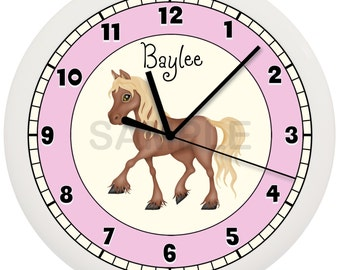 Personalized Pony Horse WALL CLOCK