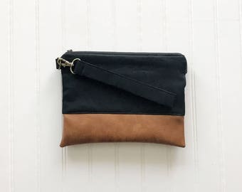 FALL COLLECTION Solid Black Mommy Clutch - Wallet Clutch - Small handbag - Black Wristlet - Wallet Clutch