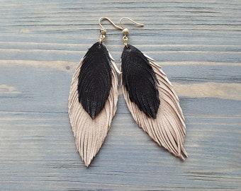 Handmade Genuine Leather Feather Earrings. Large Bohemian Earrings. Statement Earrings. Beige Leather Earrings. Lightweight Boho Earrings.