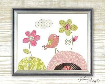 kids wall art - nursery art print - nursery decor - baby nursery print - kids art - kids room decor - nursery bird - Parmi Les Fleurs