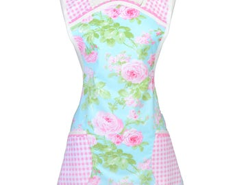 Vintage Women's Apron Old Fashioned 1940-1950's Kitchen Cooking Style - Pink Roses on Aqua Blue with Pink Check Gingham - Mothers Day Gift