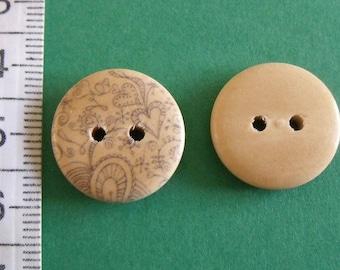 lot de 2 boutons en bois imprimé 18mm de diamètre