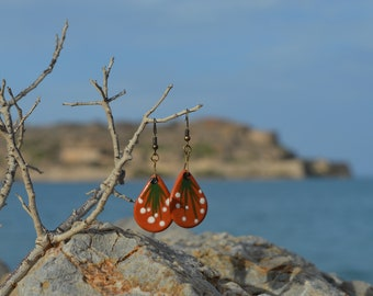 Painted type and Glazed Handmade Ceramic Earrings Pair