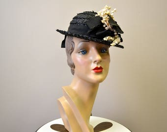 1930s/40s New York Creations Lillies of the Valley Black Straw Hat