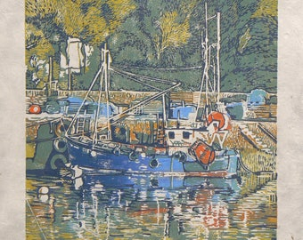 Mevagissey Fishing Boat limited edition linocut print
