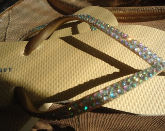 Gold Flip Flops With AB  Crystals